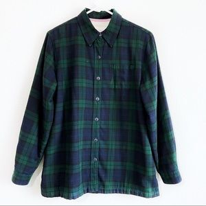 LL Bean green tartan plaid sweater jacket blazer